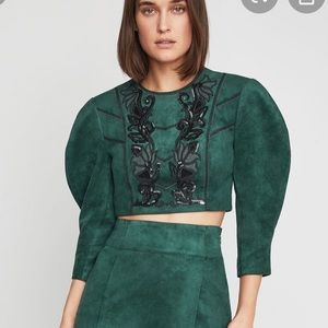BNWT BCBGMAXAZRIA Embroidered Faux Suede Crop Top